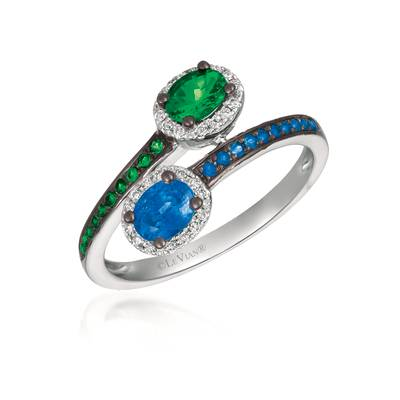 18K Vanilla Gold® Blueberry Sapphire™ 1/2 cts., Green Garnet 3/8 cts. Ring with Vanilla Diamonds® 1/10 cts. | PHAM 33