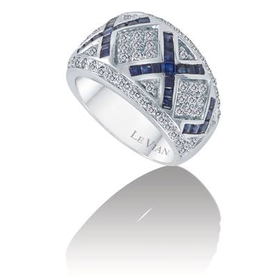 14K Vanilla Gold® Blueberry Sapphire™ 2 cts. Ring with Vanilla Diamonds® 3/4 cts. | PZGT 3