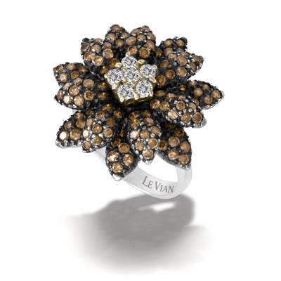 14K Vanilla Gold® Ring with Vanilla Diamonds® 1/4 cts., Chocolate Diamonds® 1  7/8 cts. | PZHD 1