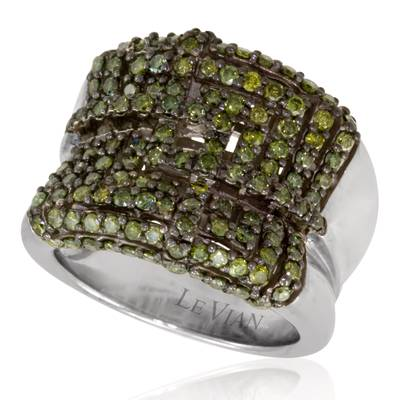 14K Vanilla Gold® Ring with Kiwiberry Green Diamonds™ 1  3/8 cts. | PZHP 12