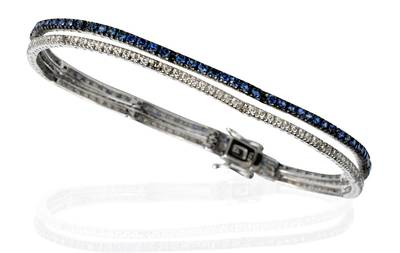 14K Vanilla Gold® Blueberry Sapphire™ 2  1/3 cts. Bracelet with Vanilla Diamonds® 3/4 cts. | PZIH 16