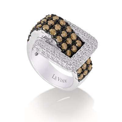 14K Vanilla Gold® Ring with Chocolate Diamonds® 1  3/8 cts., Vanilla Diamonds® 3/4 cts. | PZJC 33