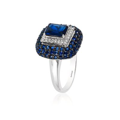 14K Vanilla Gold® Blueberry Sapphire™ 3 cts. Ring with Vanilla Diamonds® 1/5 cts. | PZJO 3