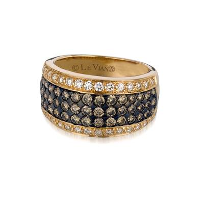 14K Honey Gold™ Ring with Chocolate Diamonds® 1  1/5 cts., Vanilla Diamonds® 3/8 cts. | PZNB 8A