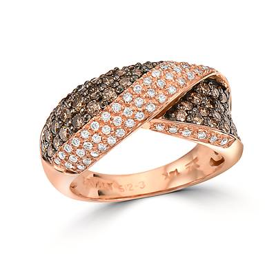 14K Strawberry Gold® Ring with Chocolate Diamonds® 1 cts., Vanilla Diamonds® 1/4 cts. | PZUI 3