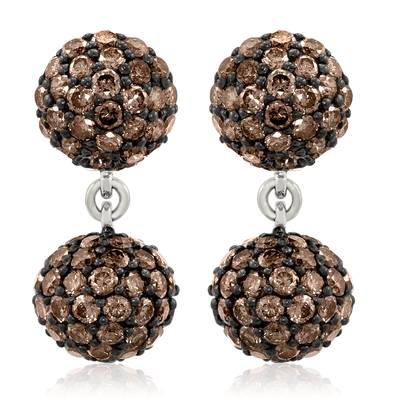 14K Vanilla Gold® Earrings with Chocolate Diamonds® 4  1/2 cts. | PZVN 2
