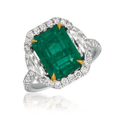18K Two Tone Gold Costa Smeralda Emeralds™ 6  1/5 cts. Ring with Vanilla Diamonds® 1  7/8 cts. | ROML 3