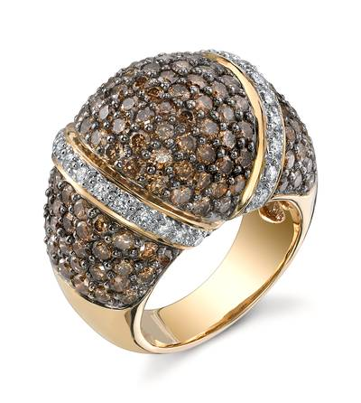 14K Honey Gold™ Ring with Chocolate Diamonds® 4  3/8 cts., Vanilla Diamonds® 1/3 cts. | SANH 3