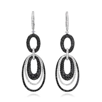 18K Vanilla Gold® Earrings with Black Diamonds 7  3/4 cts., Vanilla Diamonds® 2 cts. | SOAA 110