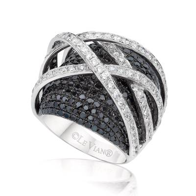 18K Vanilla Gold® Ring with Vanilla Diamonds® 2 cts., Black Diamonds 4 cts. | SOAA 124