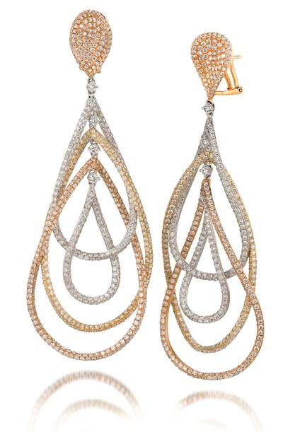 18K Tri Color Gold Earrings with Vanilla Diamonds® 3  5/8 cts. | SOAC 10