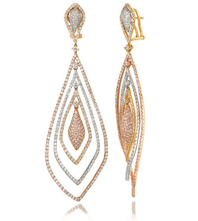 18K Tri Color Gold Earrings with Vanilla Diamonds® 9  3/8 cts. | SOAC 12