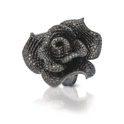 18K Black Gold Ring with Black Diamonds 10 cts. | SOAC 27