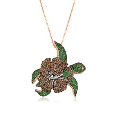 14K Two Tone Gold Forest Green Tsavorite™ 4  1/8 cts. Pendant with Chocolate Diamonds® 4  1/2 cts., Vanilla Diamonds® 3/4 cts. | SPOAX 5086