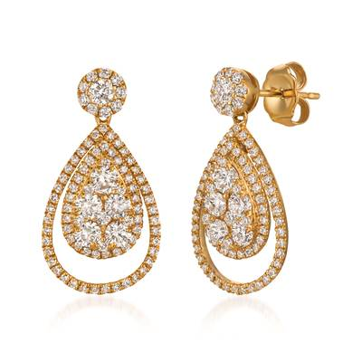 14K Honey Gold™ Earrings with Vanilla Diamonds® 1  1/2 cts. | SPODC 690