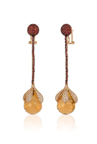 14K Honey Gold™ Cinnamon Citrine® 43.000 cts., Orange Sapphire 1  3/8 cts. Earrings with Vanilla Diamonds® 2  7/8 cts. | SUCH 15