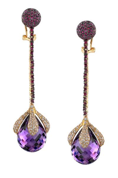 14K Honey Gold™ Grape Amethyst™ 43.000 cts., Passion Ruby™ 1  3/8 cts. Earrings with Vanilla Diamonds® 2  1/2 cts. | SUDL 3