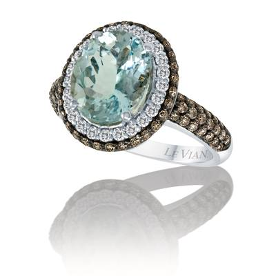 14K Vanilla Gold® Sea Blue Aquamarine® 2  7/8 cts. Ring with Vanilla Diamonds® 1/4 cts., Chocolate Diamonds® 3/4 cts. | SUGV 1
