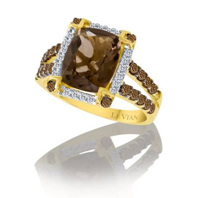 14K Honey Gold™ Chocolate Quartz® 2  5/8 cts. Ring with Chocolate Diamonds® 1/2 cts., Vanilla Diamonds® 1/8 cts. | SUHW 1