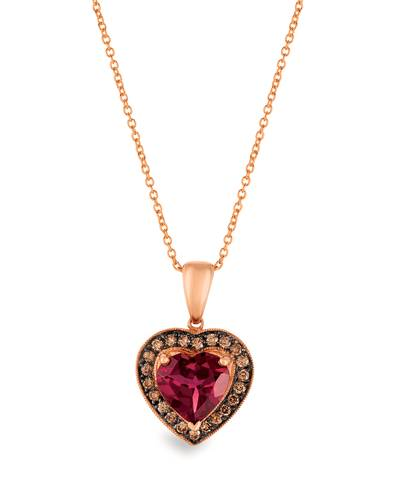 14K Strawberry Gold® Raspberry Rhodolite® 2  7/8 cts. Pendant with Chocolate Diamonds® 1/3 cts. | SUIP 4