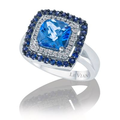 14K Vanilla Gold® Ocean Blue Topaz™ 2  1/5 cts., Blueberry Sapphire™ 1/2 cts. Ring with Vanilla Diamonds® 1/10 cts. | SUIW 1