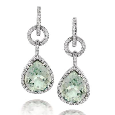 14K Vanilla Gold® Mint Julep Quartz™ 5  3/4 cts. Earrings with Vanilla Diamonds® 3/8 cts. | SUJD 14