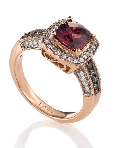 14K Strawberry Gold® Raspberry Rhodolite® 1  3/4 cts. Ring with Chocolate Diamonds® 1/8 cts., Vanilla Diamonds® 1/5 cts. | SUJR 1