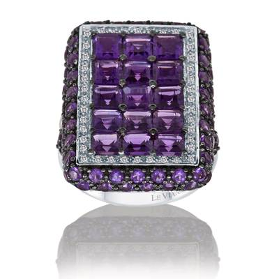 14K Vanilla Gold® Grape Amethyst™ 7  1/6 cts. Ring with Vanilla Diamonds® 1/5 cts. | SUOL 3