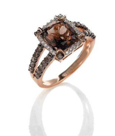 14K Strawberry Gold® Chocolate Quartz® 2  5/8 cts. Ring with Chocolate Diamonds® 1/2 cts., Vanilla Diamonds® 1/8 cts. | SUPW 5