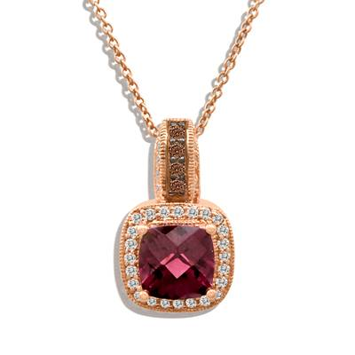 14K Strawberry Gold® Raspberry Rhodolite® 1  7/8 cts. Pendant with Chocolate Diamonds® 1/20 cts., Vanilla Diamonds® 1/6 cts. | SUQR 2