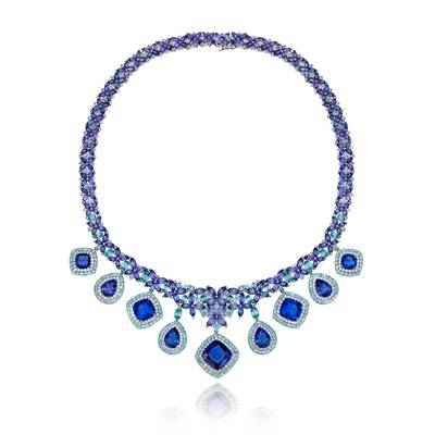 14K Vanilla Gold® Blueberry Tanzanite® 92.170 cts., Blueberry Zircon™ 22 cts. Necklace with Vanilla Diamonds® 2  3/4 cts. | SUSH 13