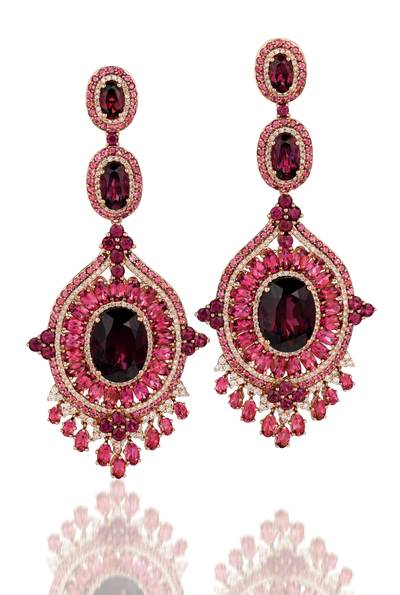 14K Strawberry Gold® Raspberry Rhodolite® 38.160 cts., Passion Fruit Tourmaline™ 15 3/8 cts. Earrings with Vanilla Diamonds® 2 cts. | SUSH 6