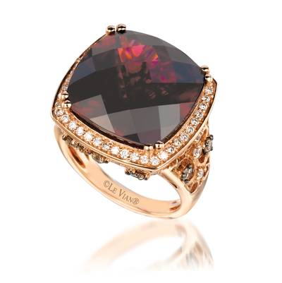 18K Strawberry Gold® Raspberry Rhodolite® 19 1/3 cts. Ring with Chocolate Diamonds® 1/2 cts., Vanilla Diamonds® 3/8 cts. | SUUM 10