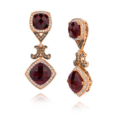 18K Strawberry Gold® Raspberry Rhodolite® 15 7/8 cts. Earrings with Vanilla Diamonds® 1  1/3 cts., Chocolate Diamonds® 7/8 cts. | SUUM 9