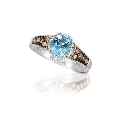 14K Vanilla Gold® Sea Blue Aquamarine® 1 cts. Ring with Chocolate Diamonds® 1/4 cts., Vanilla Diamonds®  cts. | SUUQ 145