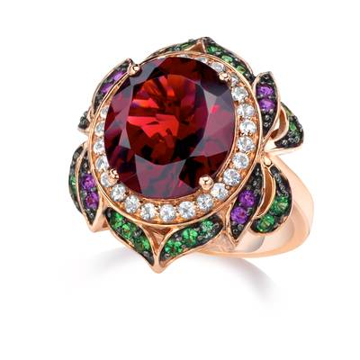 14K Strawberry Gold® Pomegranate Garnet™ 7  5/8 cts., Forest Green Tsavorite™ 3/8 cts., Vanilla Topaz™ 3/8 cts., Grape Amethyst™ 1/10 cts. Ring | SUUU 1