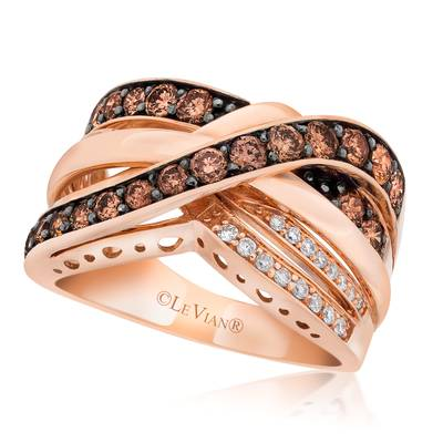 14K Strawberry Gold® Ring with Chocolate Diamonds® 7/8 cts., Vanilla Diamonds® 1/10 cts. | SUVB 1