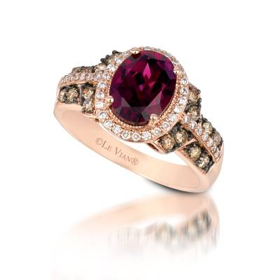 14K Strawberry Gold® Raspberry Rhodolite® 2  1/5 cts. Ring with Chocolate Diamonds® 1/3 cts., Vanilla Diamonds® 1/5 cts. | SUVS 1