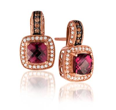 14K Strawberry Gold® Raspberry Rhodolite® 2  3/8 cts. Earrings with Chocolate Diamonds® 1/10 cts., Vanilla Diamonds® 1/3 cts. | SUWP 4