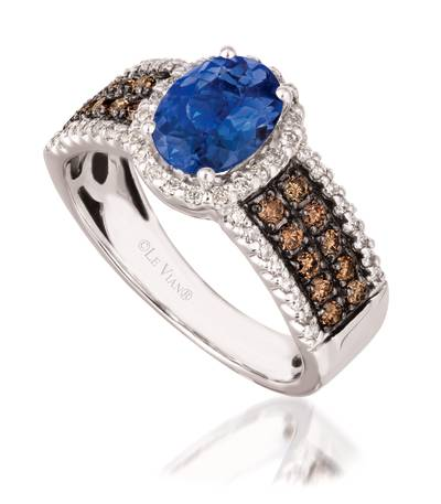 14K Vanilla Gold® Blueberry Tanzanite® 1 cts. Ring with Chocolate Diamonds® 1/3 cts., Vanilla Diamonds® 1/4 cts. | SUXB 2
