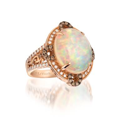 18K Strawberry Gold® Neopolitan Opal™ 4  5/8 cts. Ring with Chocolate Diamonds® 1/4 cts., Vanilla Diamonds® 1/3 cts. | SUXS 5