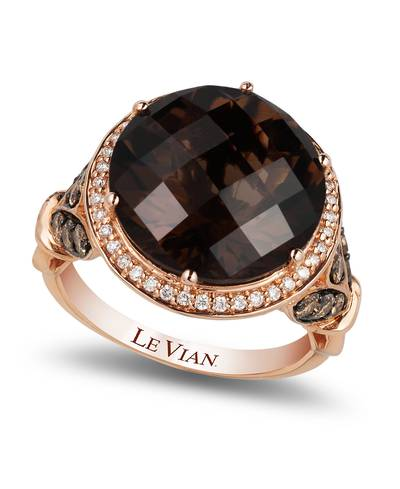 14K Strawberry Gold® Chocolate Quartz® 8 cts. Ring with Chocolate Diamonds® 1/2 cts., Vanilla Diamonds® 1/6 cts. | SUXT 122