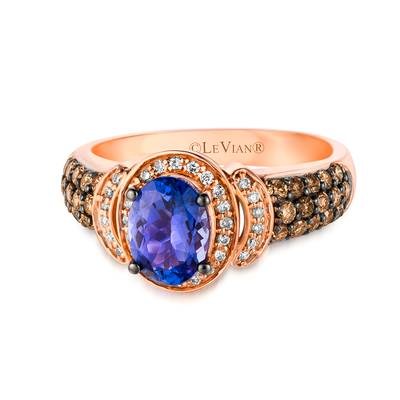 14K Strawberry Gold® Blueberry Tanzanite® 1 cts. Ring with Chocolate Diamonds® 1/2 cts., Vanilla Diamonds® 1/8 cts. | SUXT 86