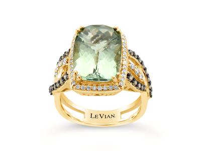 14K Green Gold Mint Julep Quartz™ 5  5/8 cts. Ring with Vanilla Diamonds® 1/4 cts., Chocolate Diamonds® 1/3 cts. | SUXU 315