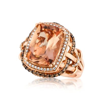 14K Strawberry Gold® Chocolate Quartz® 5 cts. Ring with Chocolate Diamonds® 3/8 cts., Vanilla Diamonds® 1/3 cts. | SUXU 441