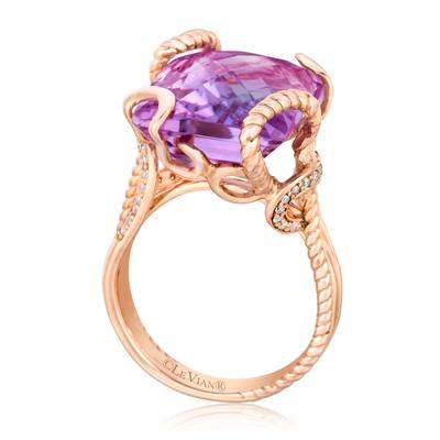 14K Strawberry Gold® Grape Amethyst™ 13 cts. Ring with Vanilla Diamonds® 1/6 cts. | SUXU 570