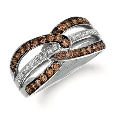 14K Vanilla Gold® Ring with Chocolate Diamonds® 5/8 cts., Vanilla Diamonds® 1/15 cts. | SUYB 46