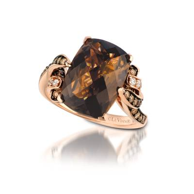 14K Strawberry Gold® Chocolate Quartz® 5 cts. Ring with Chocolate Diamonds® 1/2 cts., Vanilla Diamonds® 1/15 cts. | SUYC 37