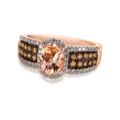 14K Strawberry Gold® Peach Morganite™ 7/8 cts. Ring with Chocolate Diamonds® 1/3 cts., Vanilla Diamonds® 1/4 cts. | SUZM 5