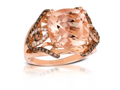 14K Strawberry Gold® Peach Morganite™ 5  1/4 cts. Ring with Chocolate Diamonds® 3/8 cts., Vanilla Diamonds® 1/8 cts. | SVAE 12